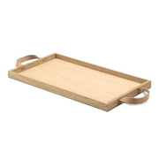 Tablett 25,5x46cm, Eichenholz und Ledergriffe